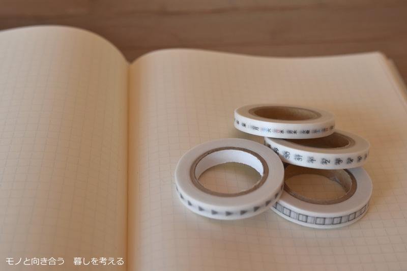 MDノートとマスキングテープ