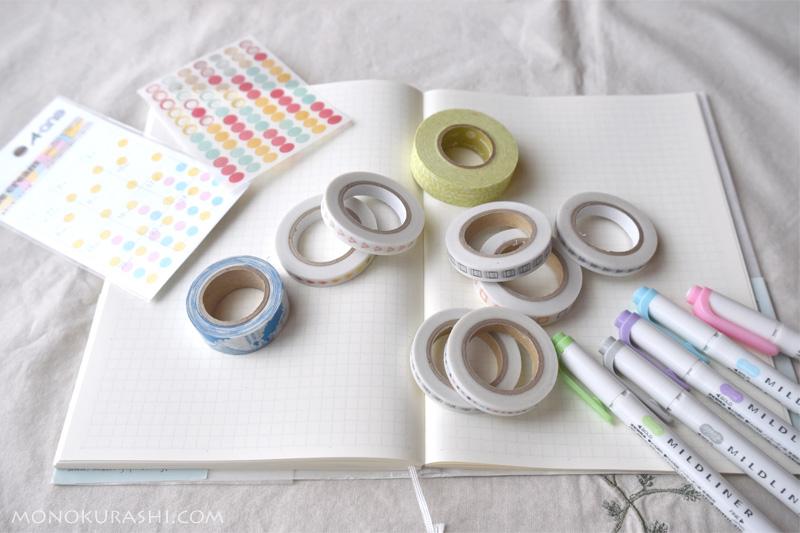 バレットジャーナルとマスキングテープ、カラーペン