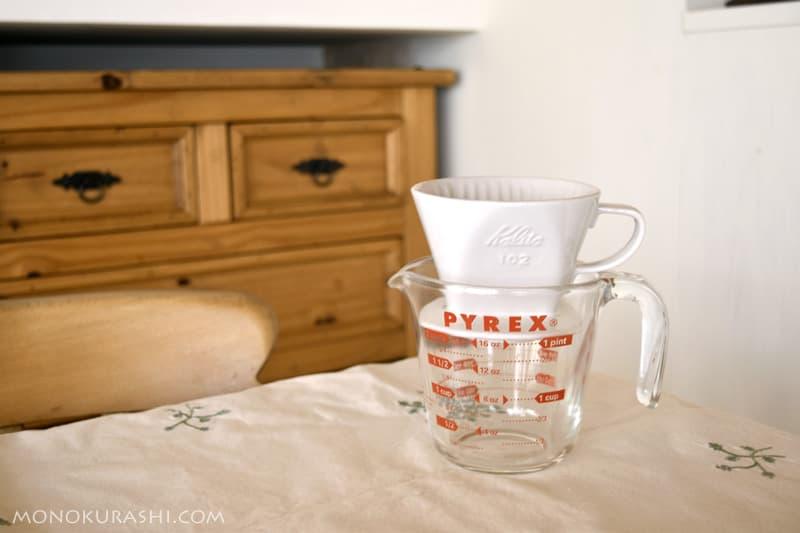 メジャーカップをコーヒーサーバーの代わりに使う