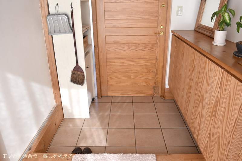 水を流してきれいに洗った玄関