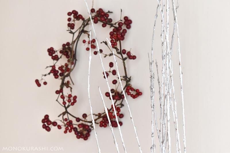 シルバー(銀色)に塗装された柳の枝