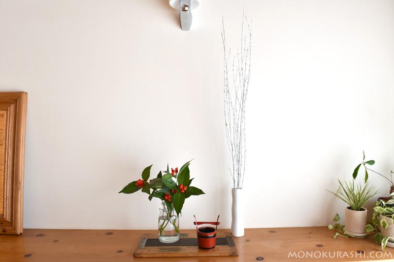 お正月の花飾り。千両を活ける