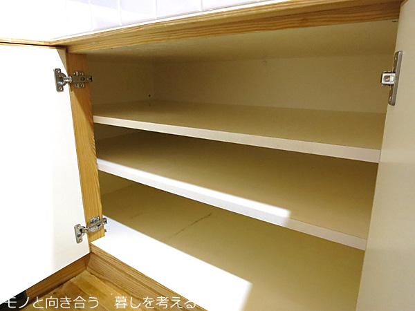 キッチンの収納棚の整理