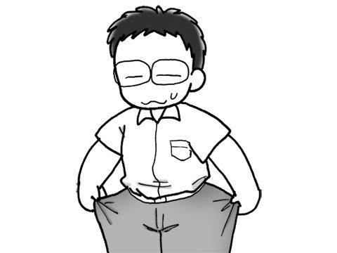 痩せて大きくなったズボン