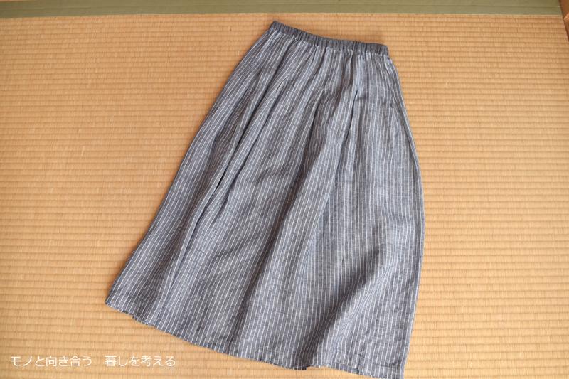 ハンドメイドのリネンスカート